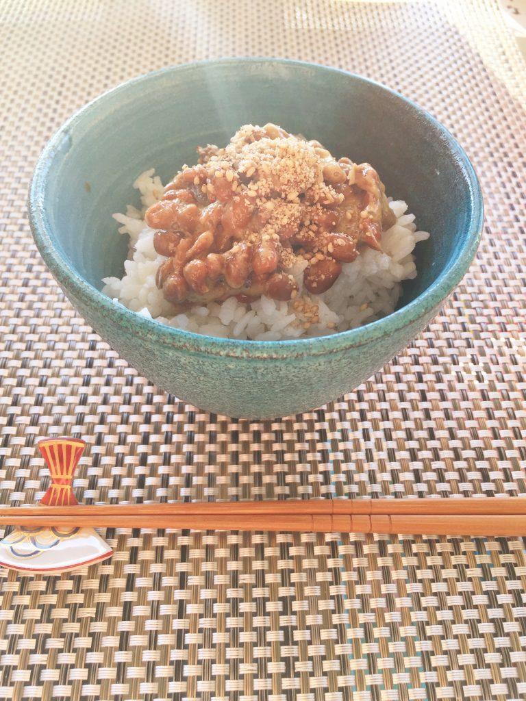 natto, rice